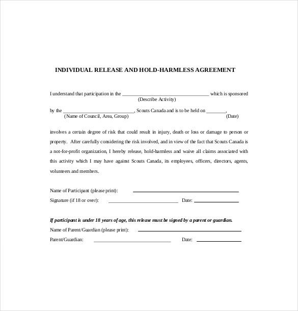 simple hold harmless agreement