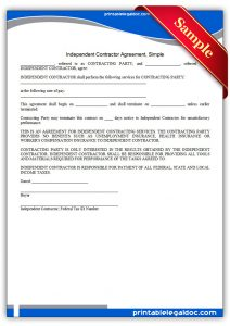 simple independent contractor agreement printable independent contractor agreement, simple form