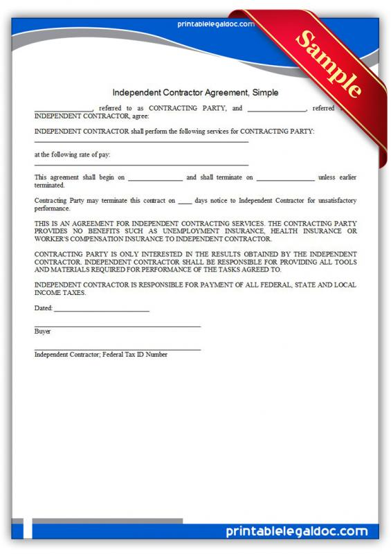 simple independent contractor agreement