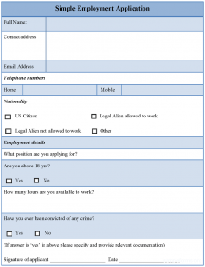 simple job application simpleemploymentapplicationformat