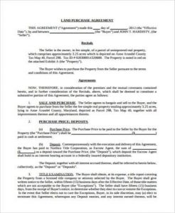 simple land purchase agreement form simple land purchase agreement