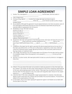 simple loan agreement simple loan agreement template