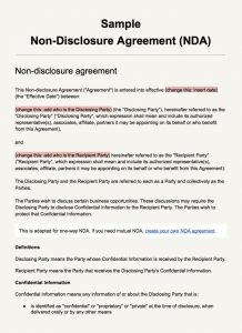 simple non disclosure agreement screenshot sample non disclosure agreement template