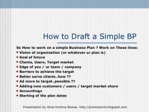 simple one page business plan template a simple but effective business plan