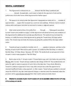 simple one page rental agreement sample shop rental agreement free download