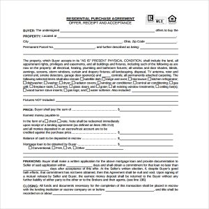 simple order form residential purchase agreement form