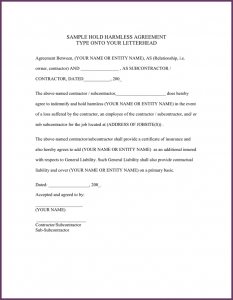 simple photo release form hold harmless agreement template hold harmless agreement