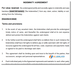 simple photo release form indemnity agreement sample