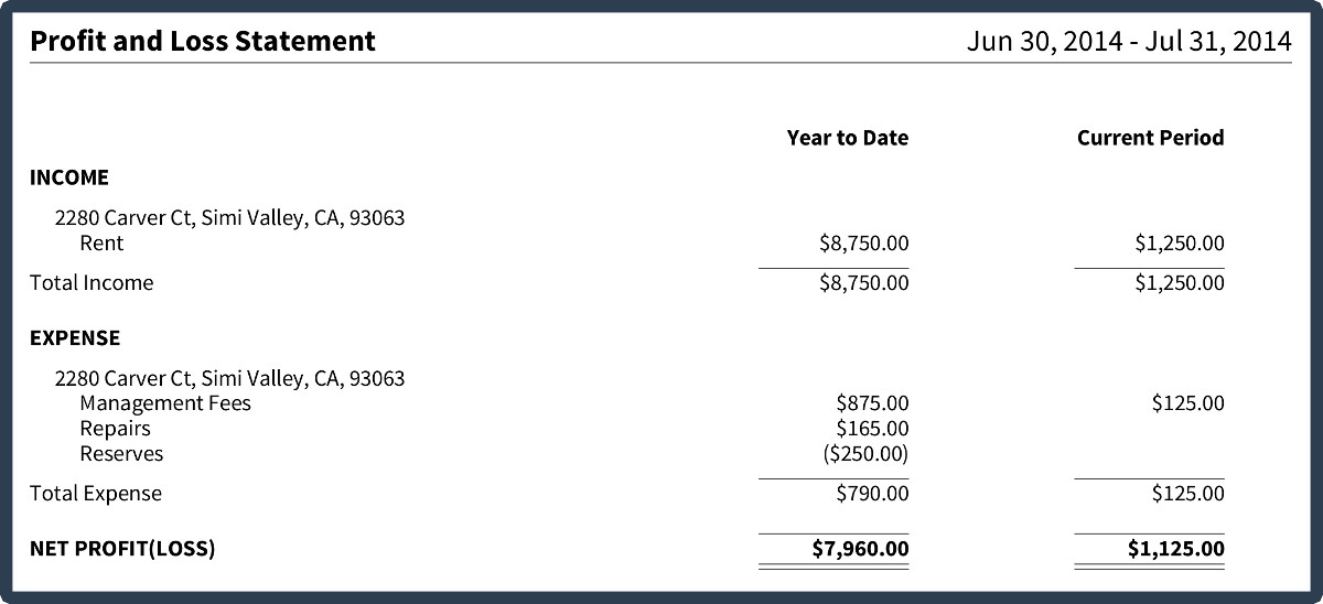 simple profit and loss statement