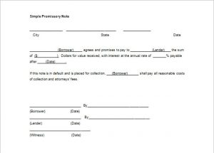 simple promissory note free download simple promissory note template word