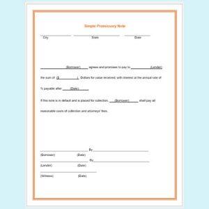 simple promissory note simple promissory note template