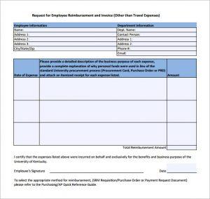 simple reimbursement form employee expense reimbursement form