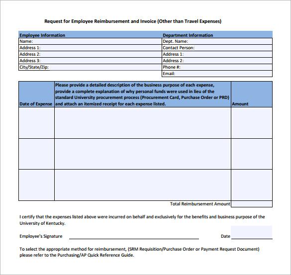 simple reimbursement form