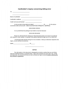 simple rental agreement month to month cardholders inquiry concerning billing error