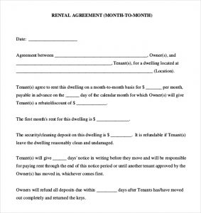 simple rental agreement month to month month to month rental agreement template pdf document download