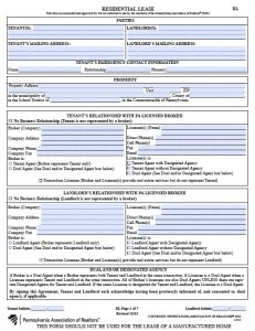 simple rental agreement month to month pennsylvania association of realtors residential lease agreement