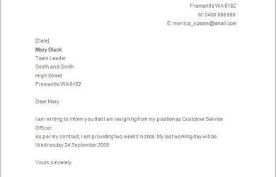 simple resignation letter basic resignation letter template