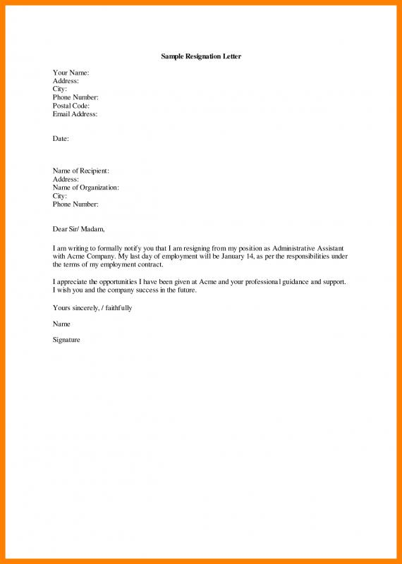 Simple Resignation Letter | Template Business