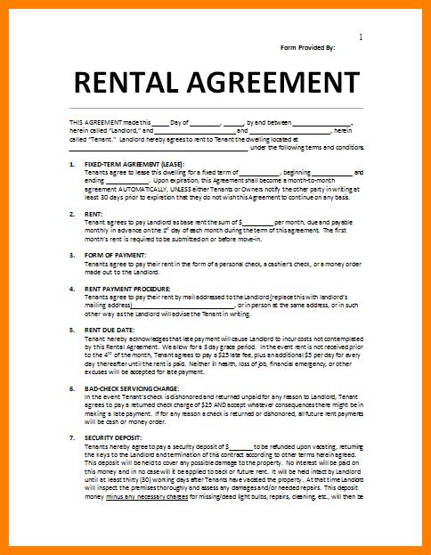 simple room rental agreement form free
