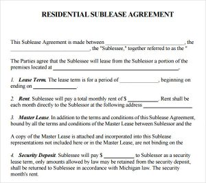 simple room rental agreement form free residential sublease agreement template