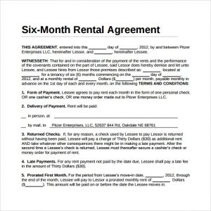 simple room rental agreement form free six month rental agreement