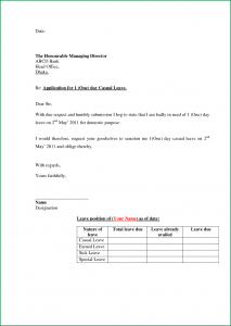 simple sample cover letter for job application leave format