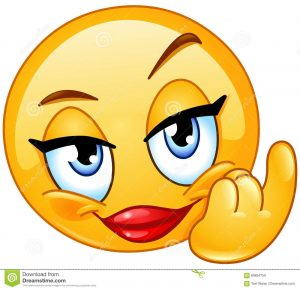smiley face icon come female emoticon showing beckoning here hand gesture