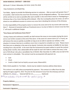 snow plow contract snow removal contract template