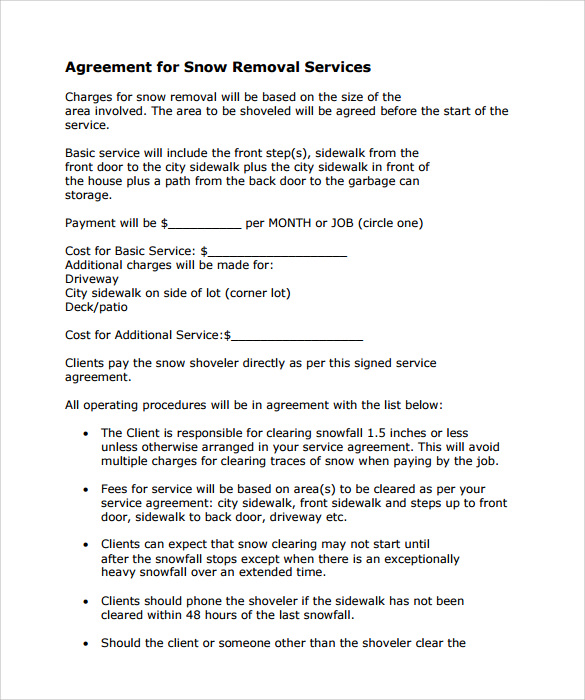 Snow Plowing Contracts Template Business
