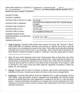 snow plowing contracts snow plowing contract template pdf