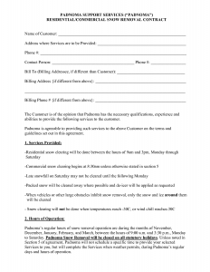 snow plowing contracts snow removal contract template