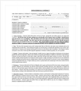 snow plowing contracts snow removal contract template min