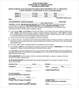snow removal contract contract agreement for snow plowing