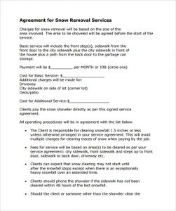 snow removal contract snow plowing contract template free