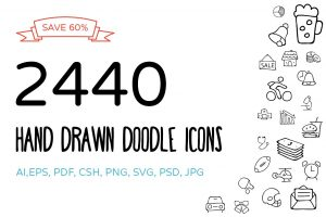 social media business cards hand drawn doodle icons