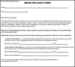 social media release form simple media release form