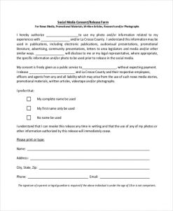 social media release form social media consent release form