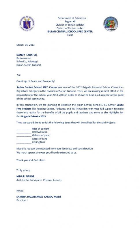 solicitation letter sample