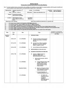 staff meeting agenda template quality improvement meeting agenda examples