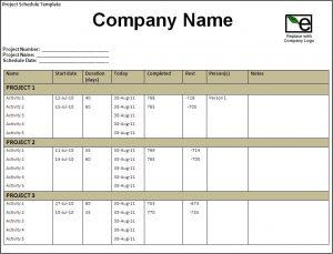 staff schedule template project schedule template