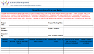 stakeholder analysis templates wbs excel template