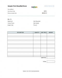 standard bill of sale printshopinvoicetemplate