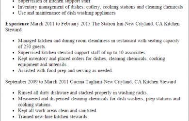 standard operating procedure examples kitchen steward