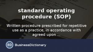 standard operating procedures examples standard operating procedure sop