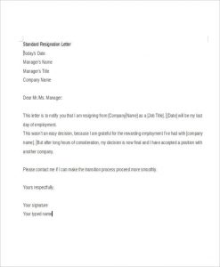 standard resignation letters formal standard resignation letter