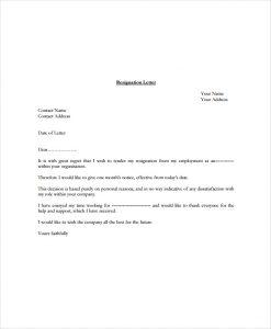 standard resignation letters free standard resignation letter