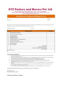 standard resignation letters quotations format for packers and movers companies in india