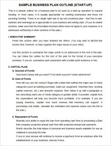 startup business plan example business plan template outline annotated