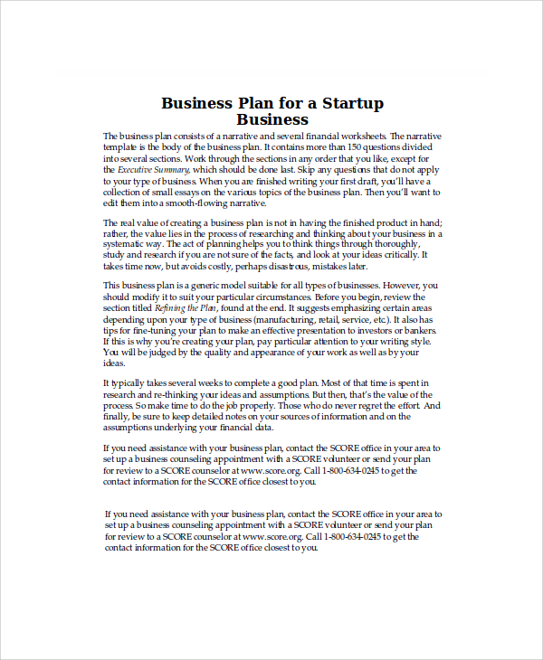 startup business plan example