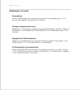 statement of work example sow